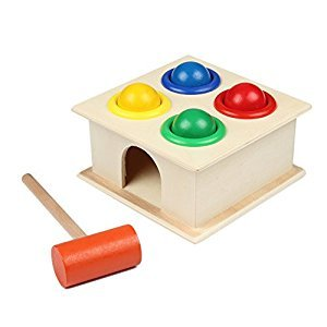 Toy Hammer - Newborn Colorful Hammering Wooden Ball Hammer Box Geometric Blocks Kids Early Learning Educational Toys Children Gift Toy - Wooden Hammer