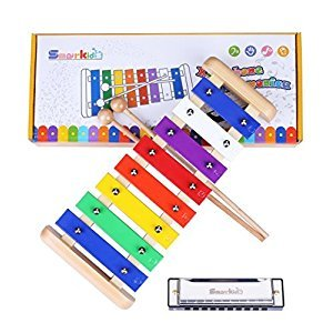 Xylophone Toys Instruments Musical - Smarkids Prime 8 Note Metal Keys Glockenspiel and Harmonica Percussion Set with Song Sheet Kids Educational Toddler Toys for Boys and Girls with Xylophone Mallets