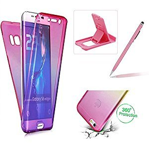 Case for Samsung Galaxy S6,Silicone TPU Cover for Samsung Galaxy S6,Herzzer Slim [Gradient Color] Soft TPU Gel Slim Fit Shockproof Scratch Resistant Front and Back Full Body 360 Degree Protective Case