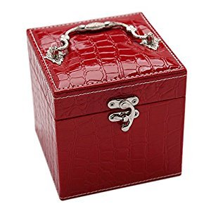 GreenSun(TM) Handheld Portable PU Leather Jewelry Box 3 Layers Holder Storage Square Cube Case Jewelry Packaging Display With Mirror