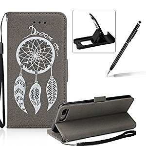 Leather Case for iPhone 7 Plus,Strap Flip Wallet Cover for iPhone 8 Plus,Herzzer Luxury Stylish Shining Bling Glitter Dreamcatcher Design Gray PU Leather Stand Card Holder and ID Slot Money Pouch Magnetic Clasp Slim Flip Protective Skin Case Cover for iPho