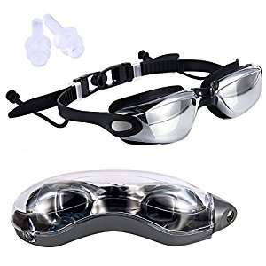 Qiyun Adult Goggles Adult Plating HD Anti Fog Waterproof Anti UV Professional Seamless Silica Gel Swimming Goggles with Conjoined Ear Plugs and Protection Case Black