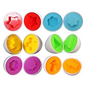 6 pcs Smart Egg Color Shapes Matching Puzzle Easter Educational Toys
