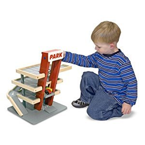 Melissa & Doug Deluxe Wooden Parking Garage Play Set