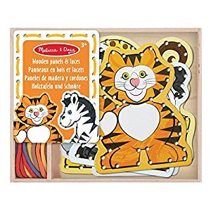 Melissa & Doug Lace & Trace: Wild Animals With 5 Wooden Panels and 5 Matching Laces