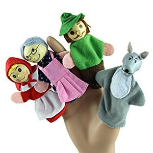 Coromose 4PCS Little Red Riding Hood Finger Puppets Christmas Gifts Baby Educational Toy