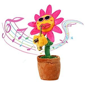 Enkman Dancing Flower, Waist Swayed Sunflower, Baby Sound Machine, Electronic Plush Toy with Classic Music, Easter Gift for Baby Boys, Girls, Birthday Party, Halloween Presents for Kids (BB)