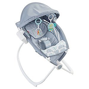 Fisher-Price Premium Auto Rock & Play Sleeper With Smart Connect - Soothing Projections, Auto Rock, Music & Sounds - Crescent Bliss, Light Grey Teal White