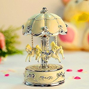 HoneyGifts Laxury Carousel Music Box,Flower Design Beige