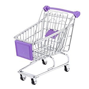Purple Mini Shopping Cart Supermarket Handcart Trolley with Seat Rolling Wheels Kids Children Pretend Play Toy Size M