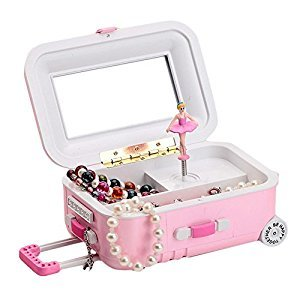 Qiyun Draw-Bar Suitcase Music Box Girl's Musical Jewelry Storage Box With Spinning Dancing Little Cartoon Girl Birthday Present Random Color
