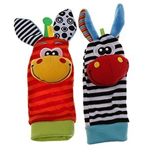 1 Pair Animal Giraffe Shape Infant Baby Soft Foot Socks Rattles Baby Toy
