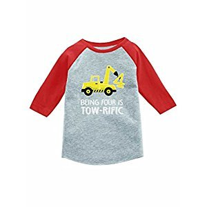 4th Birthday Tractor Construction Party 3/4 Sleeve Baseball Jersey Toddler Shirt 5/6 Red