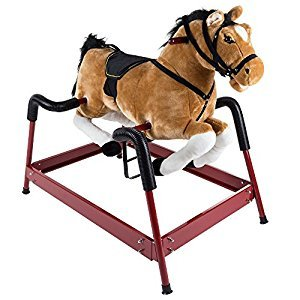 Happy Trails Spring Rocking Horse Plush Ride on Toy with Adjustable Foot Stirrups and Sounds for Toddlers, Brown