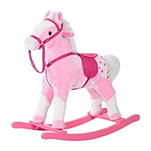 Qaba Rocking Plush Horse Pony Children Kid Ride on Toy w/ Realistic Sound (Light Pink)