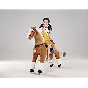 UFREE Action Pony, Large Mechanical Horse Toy, Ride on Bounce up and down and Move, Height 110cm for Children 6 Years to Adult(White Mane & Tail)