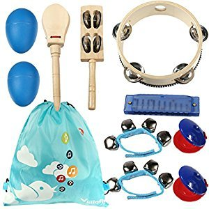 kilofly Kids Musical Instruments Band Rhythm Toys Value Pack [Set of 10], Blue