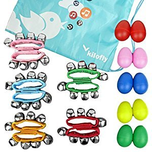 kilofly Musical Instruments Rhythm Toys Value Pack 10 Maracas & 10 Wrist Bells