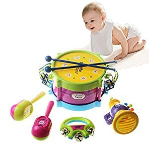 Qiyun 5Pcs Baby Kids Colorful Plastic Drum Bell Sand Hammer Musical Education Instrument Toy Set