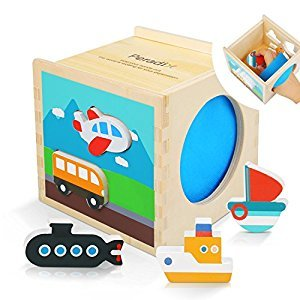 Peradix Shape Sorter Toy Wooden Box Plane Ship Bus Sorting & Stacking Puzzle Blocks for Toddler Shape & Color Recognition Education
