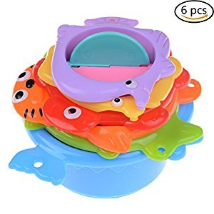WENHAI 6 Pcs/Set Colorful Bath Toys Stacking and Nesting Cups Educational Fun Toys for Babies and Toddlers