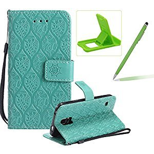 Green Leather Case for Samsung Galaxy S5,Strap Wallet Case for Samsung Galaxy S5,Herzzer Bookstyle Classic Elegant Pretty Flower Design Magnetic Stand Flip Leather Case with Soft TPU