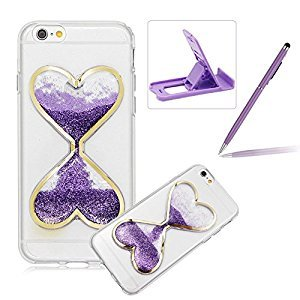 Liquid Case for iPhone 7,For iPhone 7 Purple Glitter Love Heart Case,Herzzer Luxury Funny Creative 3D Sandglass Liquid Quicksand Glitter Sand Moving Crystal Soft Gel Protective Back Cover Case