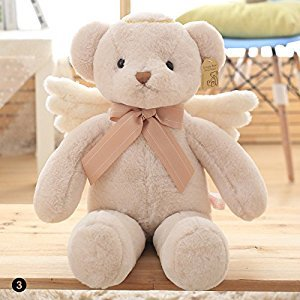 ZHUOTOP 25CM Kids Plush Angel Bear Doll Stuffed Soft Toys With Wings Plush Toys Gift Beige