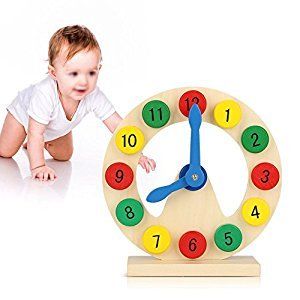 Baby Children Wooden Clock Toy Kids Number Time Early Learning Gift for Little Boys Girls