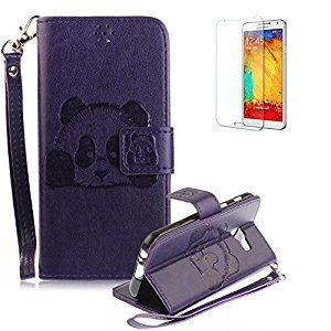 For Samsung Galaxy A5 (2017 Model)/ A520 Case [with Free Screen Protector] Funyye Stylish Cute Animal Panda Pattern Design With Lanyard Strap Scratch Resistant Premium Magnetic Detachable PU Leather Wallet Style Cover with [Credit Card Holder Slots] Case C