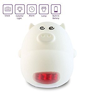 Umiwe Cute Nursery Lamp with Alarm Clock,Silicone Cartoon Night Light for Kids -3 Sounds, 7 Colors, Tap Control, Temperature Display (Pig A)