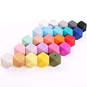 DIY Necklace/ Bracelet Bbaby Teething Silicone Beads DIY Beads for Teether Mix Color 50pcs 17mm(0.67in) Hexagon Chewy Beads