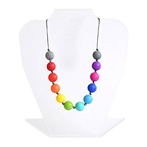 Itzy Ritzy Teething Happens Silicone Necklace Petite Strand, Rainbow