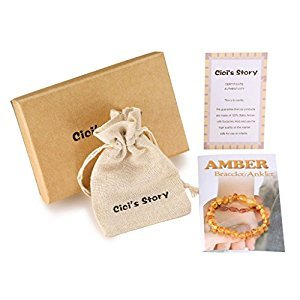 Raw Baltic Amber Teething Bracelet or Anklet for Boy (Unisex)(Lemon Raw)(5.5 Inches) - Baby Gift Sets - Natural Anti Inflammatory Beads.Teething Pain Reduce Properties
