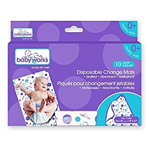 Baby Works Disposable Change Mats 10 Count Value Pack, White