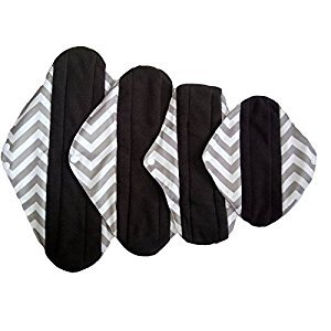 4pcs/lot Reusable Washable Waterproof Bamboo Charcoal Cloth Menstrual Sanitary Maternity Mama Pads (WSDA1)