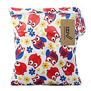 iZiv(TM) Baby Waterproof Reusable Wet and Dry Baby Diaper Bag Organizer Pouch Double Zipper Printing Diaper Bag(Owl)