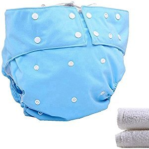 LukLoy - Teen / Adults Cloth Diapers with 2pcs Inserts for Incontinence Care -Dual Opening Pocket Washable Adjustable Reusable Leakfree (Blue)