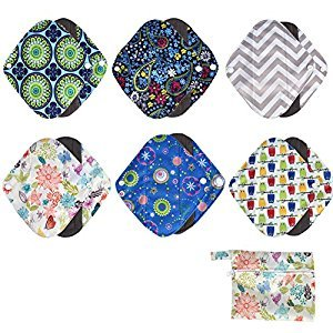 Menstrual Pad Reusable Bamboo Sanitary Cloth Panty Liner 6PCS with Washable Wet Bag