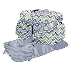 Trend Lab Chevron Deluxe Duffle Diaper Bag, Green/Gray/White