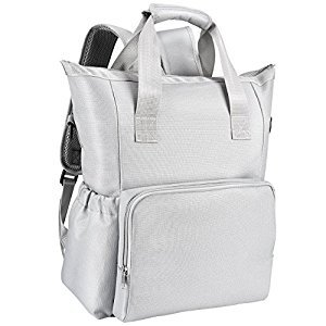 Baby Diaper Backpack, Large Capacity Mum Bag with 10 Multi-functional Pockets, Waterproof Cover & Baby Changing Pad, Adjustable Stroller Strap, Durable Back Straps, Grey