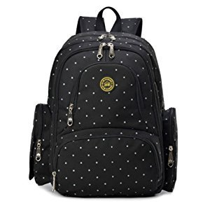 Baby Diaper Bag Smart Organizer Waterproof Travel Diaper Backpack with Changing Pad and Stroller Clips (Black Dot)