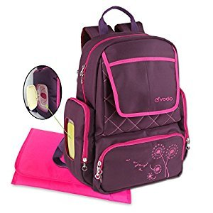 Diaper Bag Backpack by Yodo -- 13 Secure Pockets -- Smart Organizer System, Easy Pack -- Easy Clean -- BONUS: XL Changing Pad, Wipe Dispenser Case, Purple