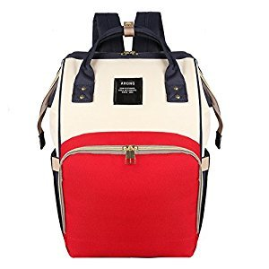 Halcent Portable and Washable Backpack Diaper Bag Multi-Function Waterproof Cloth Diaper Bag Large Capacity Nappy Bag with 9 Storage Pockets for Baby Care (Red & White)