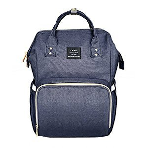 LAND Large Capacity Diaper Bag Backpack for Boys and Girls Water Resistant Maternity Nappy Bag for Mom and Dad (Deep Blue)