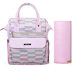 MOMMORE Large Chic Baby Diaper Backpacks for Mom With Padded Changing Pad, Insulated Bottle Pocket, Pink