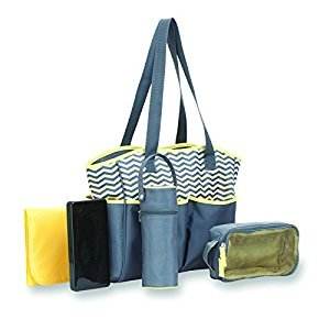 Babyboom 5-in-1 Diaper Bag, Grey/Yellow