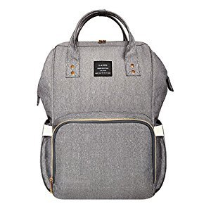 LAND Large Capacity Diaper Bag Backpack for Boys and Girls Water Resistant Maternity Nappy Bag for Mom and Dad (Silver&Grey)