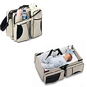 Vivay Baby Travel Bed Bag 3 in 1 Diaper Bag Baby Portable Crib Travel Bassinet for Toddlers Change Station -Tan