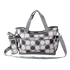 Yodo Wipe Clean Large Baby Diaper Bag Purse for Moms - Plus Removable Shoulder Strap, Insulated Bottle Holder and Changing Pad, Grey Polka Dot